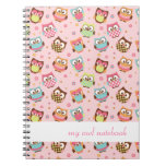Cute Colorful Owls Notebook (rose)
