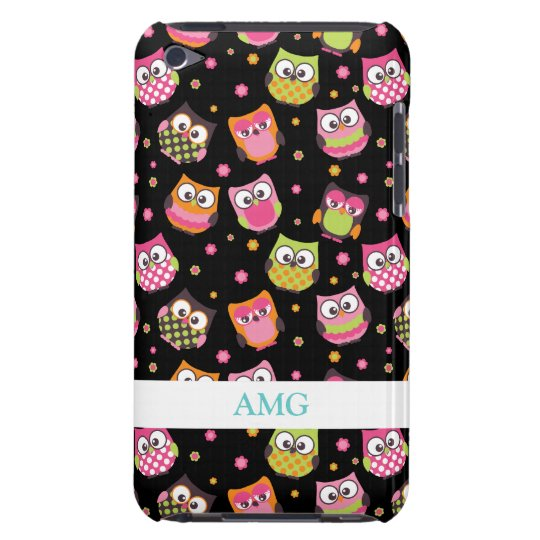 Cute Colorful Owls on Black Barely There iPod Case