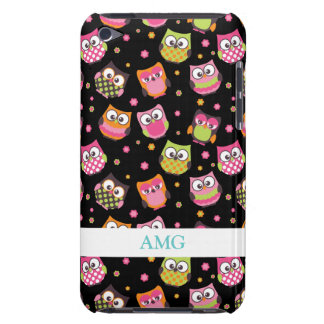 Cute Colorful Owls on Black iPod Touch Case