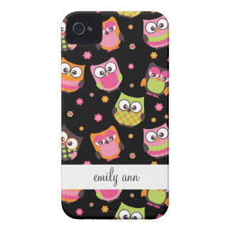 Cute Colorful Owls on Black Case-Mate iPhone 4 Case