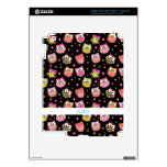 Cute Colorful Owls on Black iPad 3 Decal