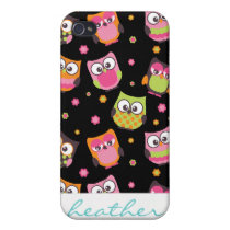 Cute Colorful Owls on Black iPhone 4/4S Cover