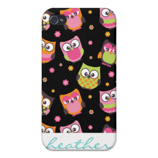 Cute Colorful Owls on Black iPhone 4 Cases