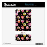 Cute Colorful Owls on Black iPhone 4S Decal