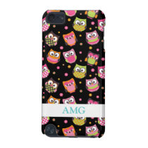 Cute Colorful Owls on Black iPod Touch (5th Generation) Cover