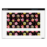 Cute Colorful Owls on Black Laptop Decals
