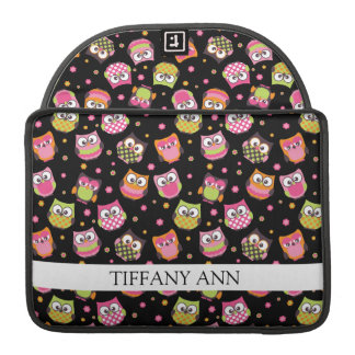 Cute Colorful Owls on Black Sleeve For MacBook Pro