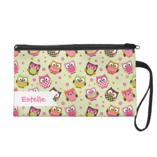 Cute Colorful Owls on Lime Pattern Wristlet