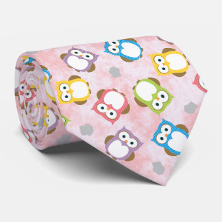 Cute colorful owls on pink-painted backgrounds tie