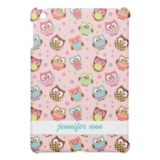 Cute Colorful Owls on Pink Pattern iPad Mini Cases