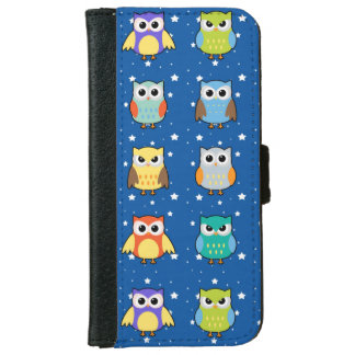 Cute Colorful Owls on Starry Background iPhone 6/6s Wallet Case