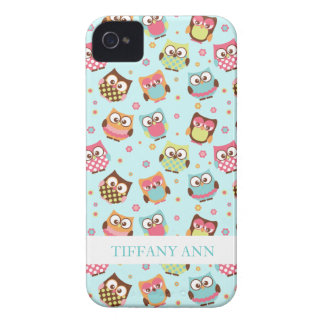 Cute Colorful Owls on Teal Pattern iPhone 4 Case