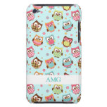 Cute Colorful Owls on Teal Pattern iPod Case-Mate Case