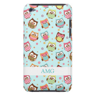 Cute Colorful Owls on Teal Pattern iPod Touch Case-Mate Case