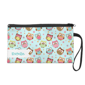 Cute Colorful Owls on Teal Pattern Wristlet