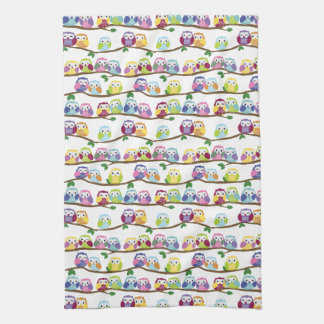 Cute Colorful Owls on the Branch Hand Towel