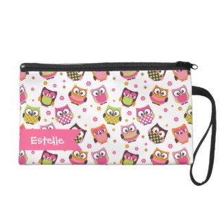 Cute Colorful Owls on White Pattern Wristlet
