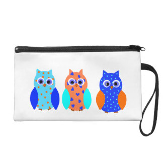 Cute Colorful Owls on Wrist bags, and bigger bags. Wristlet Purse