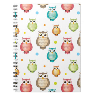Cute Colorful Owls Pattern Notebook