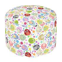 Cute colorful owls pattern pouf