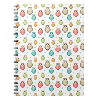 Cute Colorful Owls Pattern Spiral Notebook