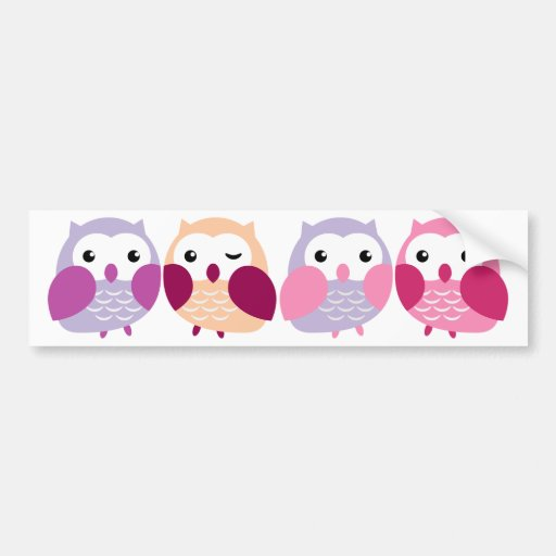 Cute Colorful Owls - Pink and Purple Pastels Bumper Sticker