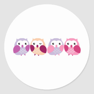Cute Colorful Owls - Pink and Purple Pastels Classic Round Sticker