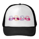 Cute Colorful Owls - Pink and Purple Pastels Hat