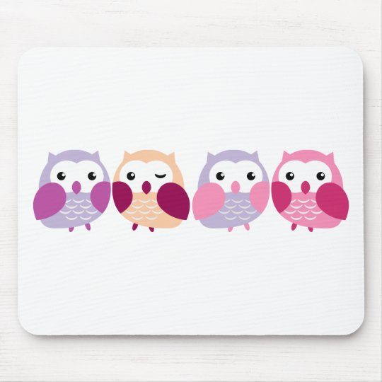 Cute Colorful Owls - Pink and Purple Pastels Mouse Pad