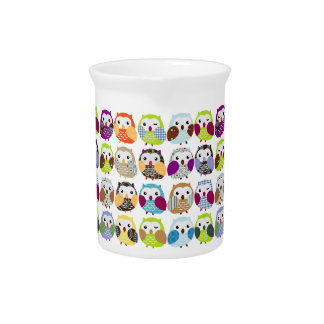 Cute Colorful owls pitcher