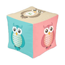 Cute Colorful Owls with Monogram Pouf