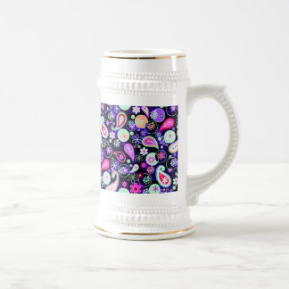 Cute colorful paisley patterns beer stein