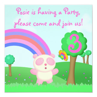 Cute & Colorful Panda Bear Cartoon Party Invite