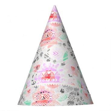 Cute colorful pastel floral aztec party hat