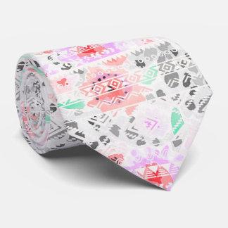 Cute colorful pastel floral aztec tie