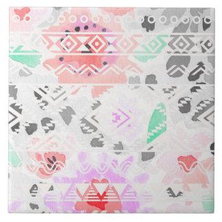 Cute colorful pastel floral aztec tile