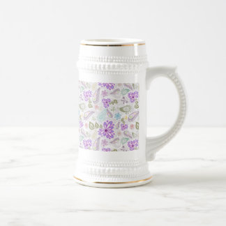 Cute colorful pastel paisley patterns beer stein