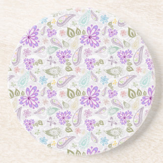 Cute colorful pastel paisley patterns drink coaster
