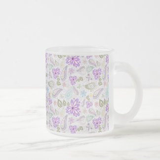 Cute colorful pastel paisley patterns frosted glass coffee mug