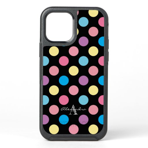 Cute Colorful Pastel Polka Dots Pattern Monogram OtterBox Symmetry iPhone 12 Pro Case