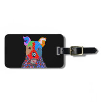 Cute Colorful Patchwork Pitbull Dog Luggage Tag