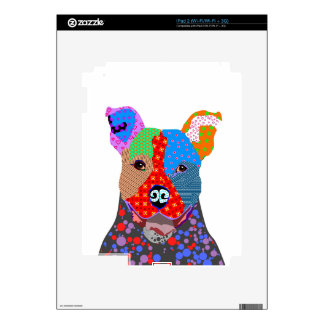 Cute Colorful Patchwork Pitbull Dog Skin For iPad 2