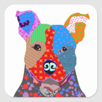 Cute Colorful Patchwork Pitbull Dog Square Sticker