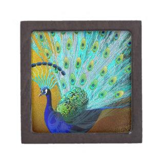 Cute Colorful Peacock Keepsake Box
