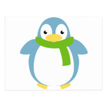 Cute Colorful Penguin in Scarf Postcard