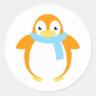Cute Colorful Penguin in Scarf Round Sticker