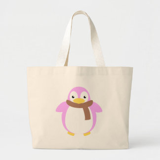 Cute Colorful Penguin in Scarf Tote Bags
