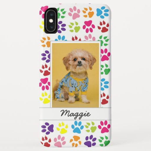 Cute Colorful Pet Print Pattern Your Pet Photo iPhone XS Max Case