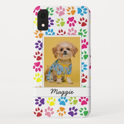 Cute Colorful Pet Print Pattern Your Pet Photo iPhone XR Case