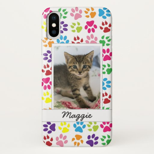 Cute Colorful Pet Print Pattern Your Pet Photo iPhone XS Case
